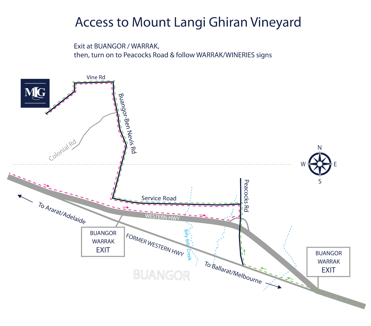 Map to Mount Langi Ghiran
